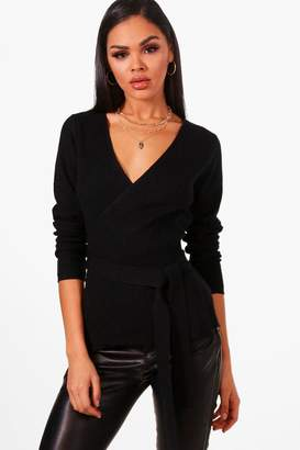 boohoo Rib Knitted Wrap Top