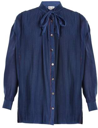 Thierry Colson Jours De Venise Tie Neck Blouse - Womens - Navy