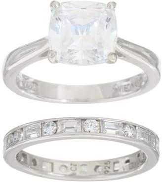 Diamonique Cushion Bridal Ring Set, Platinum Clad