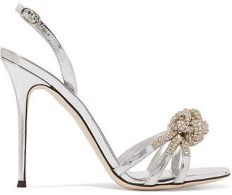 Giuseppe Zanotti Mistico Crystal-embellished Metallic Leather Sandals