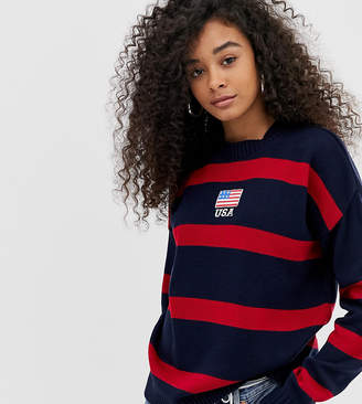 Daisy Street jumper with usa embroidery in contrast stripe
