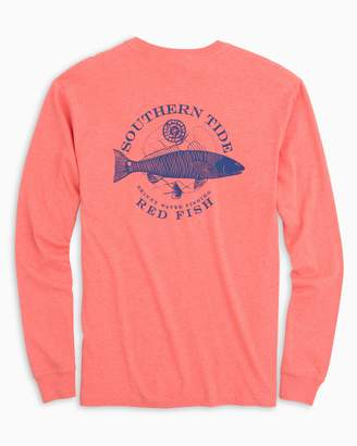 Southern Tide Fish Series Red Fish Long Sleeve Heathered T-Shirt