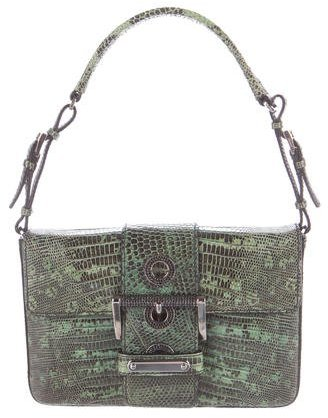 prada Prada Strass-Embellished Lizard Bag