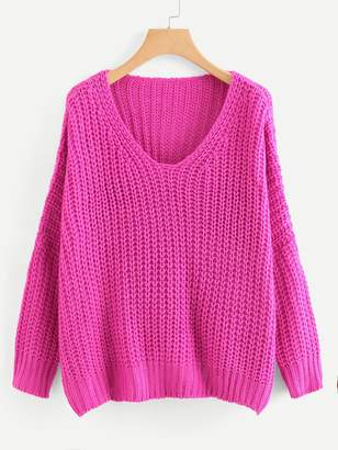 Shein Neon Pink V Neck Drop Shoulder Oversized Sweater