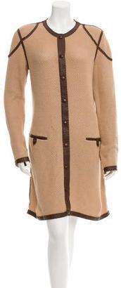 Jean Paul Gaultier Knit Leather-Trimmed Coat $220 thestylecure.com