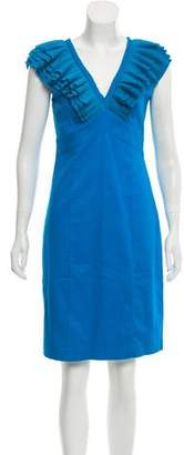 Ted Baker V-Neck Micro-Pleat Midi Dress