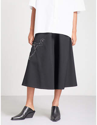 Y's Ys Rabbit-embroidered wide high-rise wool cropped trousers