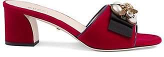 Gucci Women's Embellished Velvet Mules - Red
