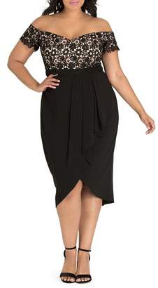 City Chic Plus Lace Glamour Off-the-Shoulder Dress