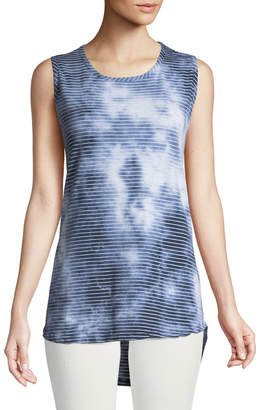 Allen Allen High-Low Striped Cloud-Wash Muscle Tee