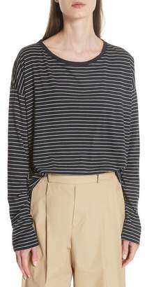 Vince Pencil Stripe Pima Cotton Pullover Top