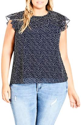 City Chic Spot Smocked Top