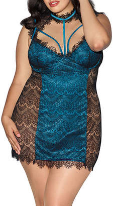 Dreamgirl Lace and Satin Chemise-Plus