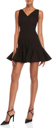 Antonio Berardi Black V-Neck Flounce Mini Dress