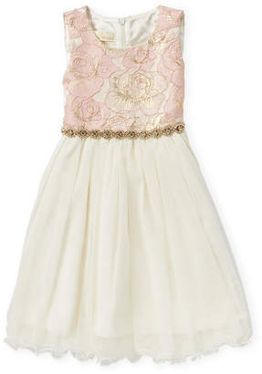 American Princess (Toddler Girls) Floral Brocade Tulle A-Line Dress
