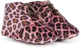 Gallucci Kids leopard-print crib shoes