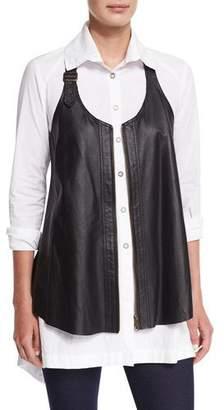 XCVI Upstage Perforated Leather Vest
