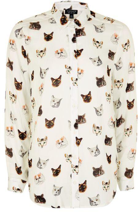 TopshopTopshop Long sleeve multi cat print shirt