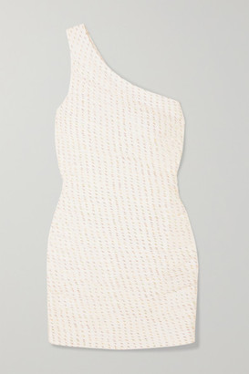 HANEY Tinsley One-shoulder Metallic Silk-blend Organza Mini Dress - Ivory