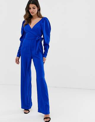 Asos Design DESIGN long sleeve plunge wrap jumpsuit with ruched sleeve