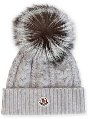 Moncler Cable-Knit Beanie Hat w/ Fox Fur