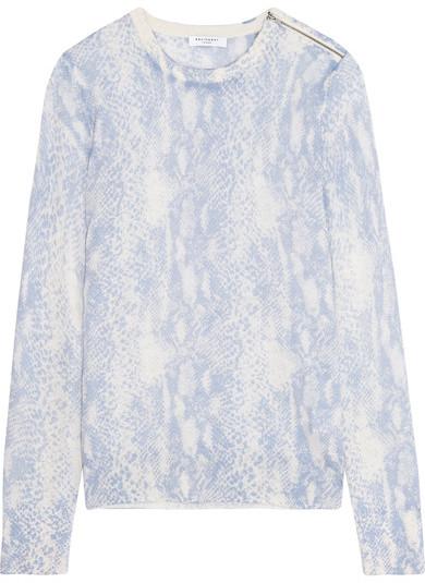 EquipmentEquipment - Ondine Intarsia Silk And Cashmere-blend Sweater - Blue