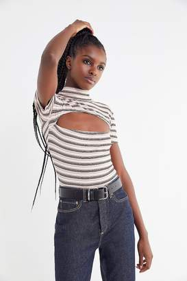 Motel Striped Cut-Out Mock-Neck Top