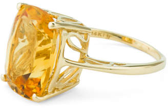 Made In India 14k Gold Cushion Cut Citrine Ring