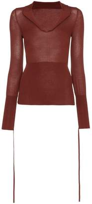 Jacquemus V-neck fitted cotton blend jumper