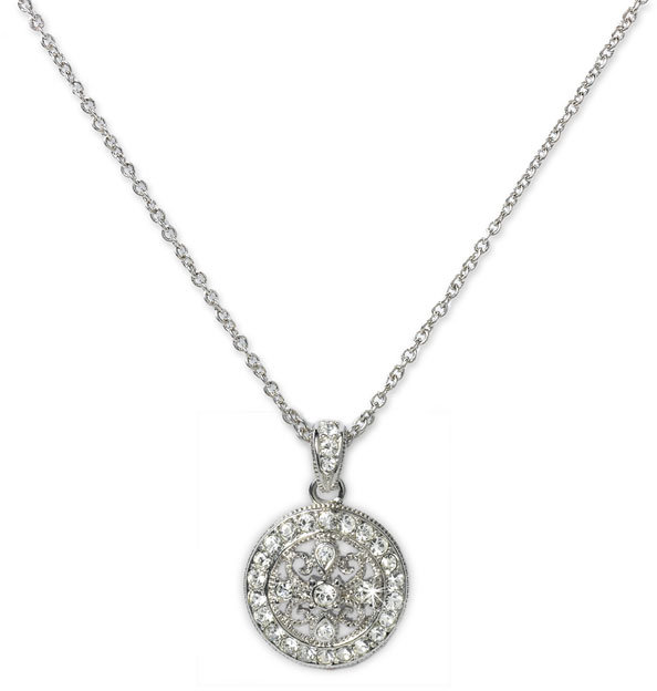 Nadri 'Diamond Scroll' Small Crystal Pendant Necklace