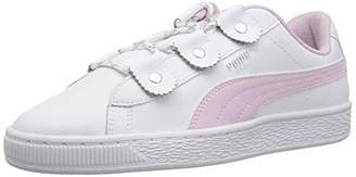 Puma Girls' Basket Loops Sneaker White-Winsome Orchid