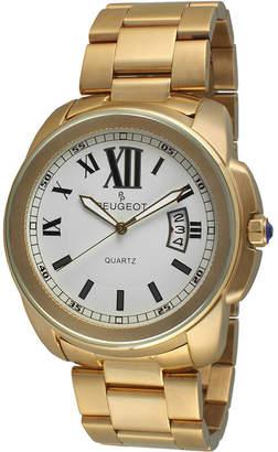 Peugeot Mens Gold-Tone Stainless Steel Bracelet Watch 1047G