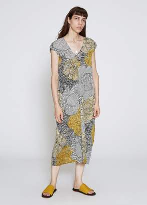 Pleats Please Issey Miyake Paisley Graphite Print Dress