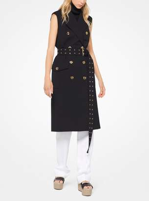 Michael Kors Wool and Cotton Gabardine Sleeveless Coat