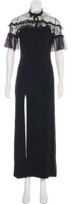 Gucci Tie Neck Lace-Trimmed Dress
