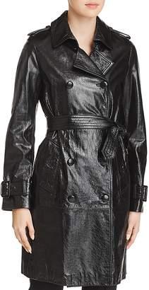 Elie Tahari Natania Leather Trench Coat