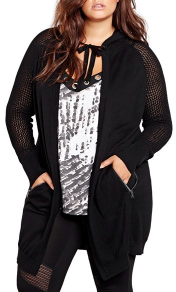 ADDITION ELLE LOVE AND LEGEND Hooded Long Cardigan (Plus Size)