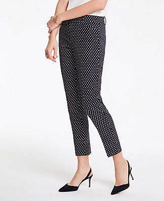 Ann Taylor The Cotton Crop Pant in Ikat Dot - Curvy Fit