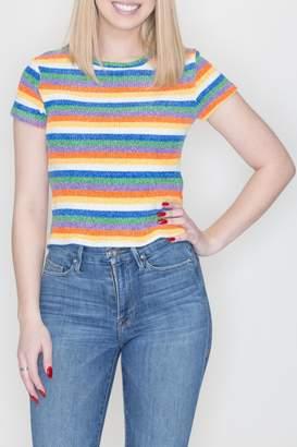 She + Sky Rainbow Strip Top