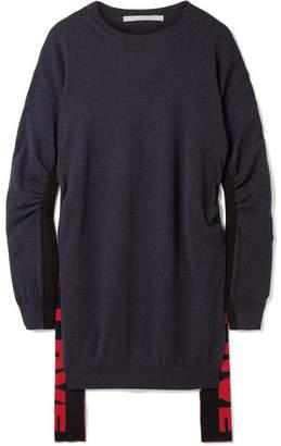 Stella McCartney Oversized Stretch Knit-trimmed Wool Sweater