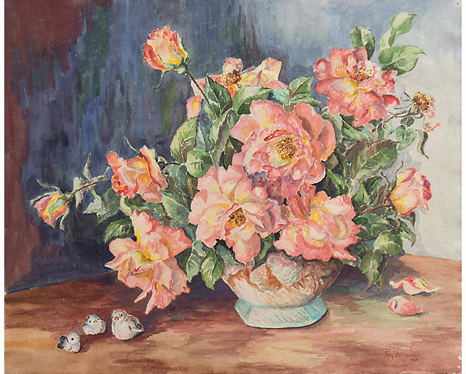 One Kings Lane Vintage Still Life of Roses by Fay Kennedy