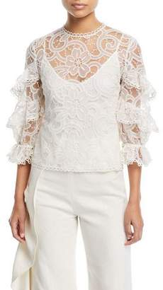 Alexis Ariell 3/4-Sleeve Lace Top