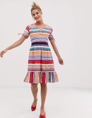 Yumi skater dress in bold stripe print