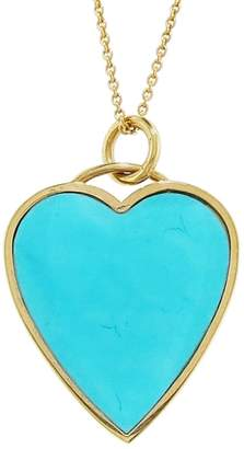 Jennifer Meyer Turquoise Inlay Heart Pendant Necklace - Yellow Gold