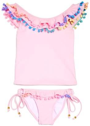 Pilyq Girls' Pom-Pom Tankini Swimsuit
