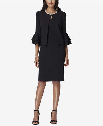 Tahari ASL Petite Pearl-Trim Ruffle-Sleeve Jacket & Dress Suit