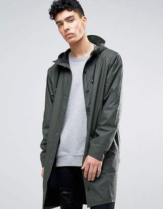 Rains long hooded jacket waterproof in green