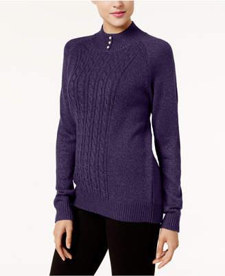 Karen Scott Cable-Knit Mock-Neck Sweater