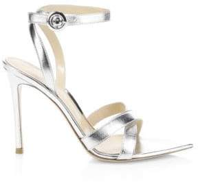 Gianvito Rossi Women's Metallic Leather Ankle-Strap Sandals - Silver - Size 41.5 (11.5)