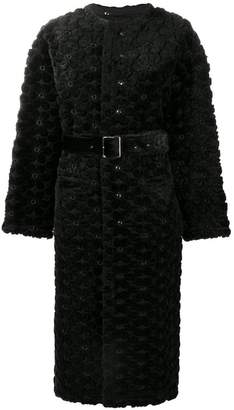 Comme des Garcons faux fur floral embroidered long coat